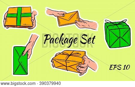 Set Of Postal Parcels. The Package Is In Hand. The Envelope Is Passed From Hand To Hand. Nabr Of Vec