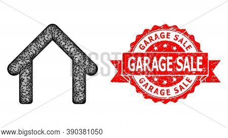 Network Garage Icon, And Garage Sale Unclean Ribbon Stamp Seal. Red Stamp Seal Contains Garage Sale
