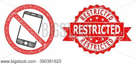 Network Forbidden Smartphone Icon, And Restricted Unclean Ribbon Seal Print. Red Stamp Seal Contains