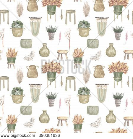 Seamless Pattern Of Boho Plants And Indoor Flowers In Baskets And Hanging Pots Macrame Decor Vector