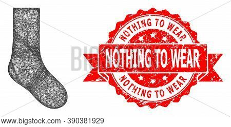 Net Sock Icon, And Nothing To Wear Unclean Ribbon Stamp Seal. Red Seal Includes Nothing To Wear Text