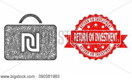 Net Shekel Case Icon, And Return On Investment Unclean Ribbon Stamp Seal. Red Stamp Seal Has Return