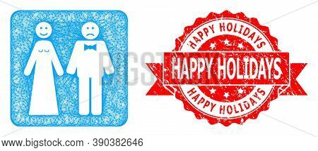 Wire Frame Wedding Emotions Icon, And Happy Holidays Scratched Ribbon Seal. Red Stamp Seal Has Happy