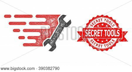 Net Wrench Icon, And Secret Tools Rubber Ribbon Seal Imitation. Red Seal Has Secret Tools Caption In