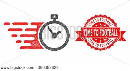 Net Time Icon, And Time To Football Corroded Ribbon Stamp. Red Stamp Has Time To Football Title Insi
