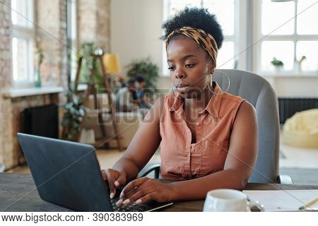 Serious young African female freelancer in casualwear working in front of laptop while sitting in armchair by table in home environment