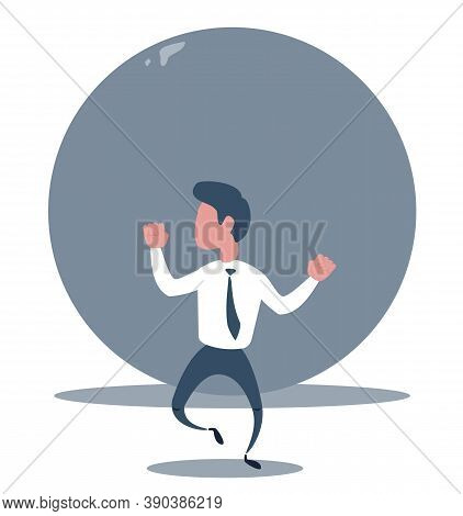 Problems Of Businessman - Businessman A Man Runs From A Rolling Stone At Him. Vector Illustration, M