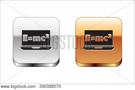 Black Math System Of Equation Solution On Laptop Icon Isolated On White Background. E Equals Mc Squa