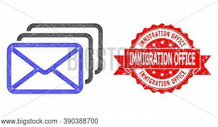 Wire Frame Mail Queue Icon, And Immigration Office Corroded Ribbon Seal Print. Red Stamp Seal Has Im