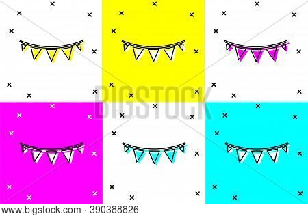Set Carnival Garland With Flags Icon Isolated On Color Background. Party Pennants For Birthday Celeb