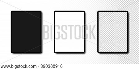 Tablet Mockup. Tablet With Black, White And Transparent Screen. Template Mockup Tablet In Realistic