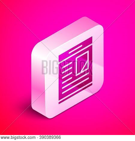 Isometric Newspaper Advertisement Displaying Obituaries Icon Isolated On Pink Background. Silver Squ