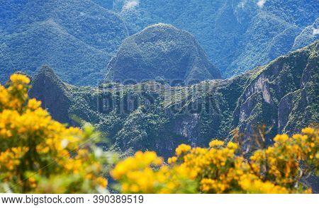 Machu Picchu Inca Town Seen From Start Of Salkantay Trek Near Cusco In Peru