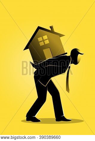 An Illustration Of A Businessman Bearing A House On His Back