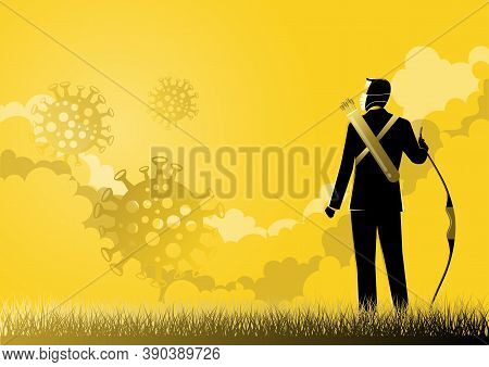 An Illustration Of A Businessman Holding A Bow And Looking Out Of The Clouds. Covid-19 Impacts To Bu