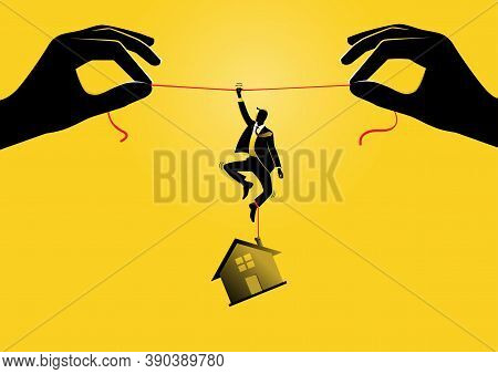An Illustration Of A Businessman Hanging On A Rope With A House Hanging To His Feet