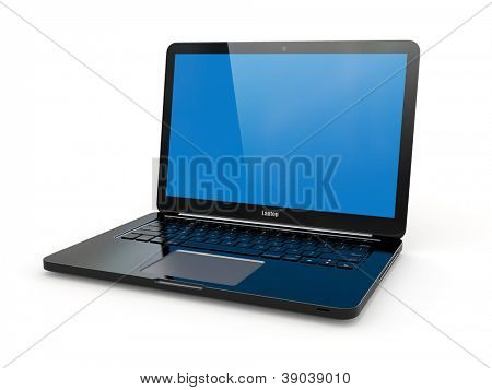 Black laptop on white background. Three-dimensional image.