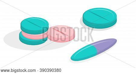 A Set Of Medical Pills In Isometry, Isolated On A White Background. Vector Illustration Of An Icon I