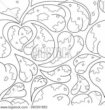 Seamless Background For Coloring. Linear Drawing Of A Heart With Blots. Antistress Coloring Page