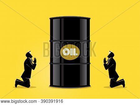 An Illustration Of Businessman Praying For Oil. Prayer Barrel Of Petroleum.