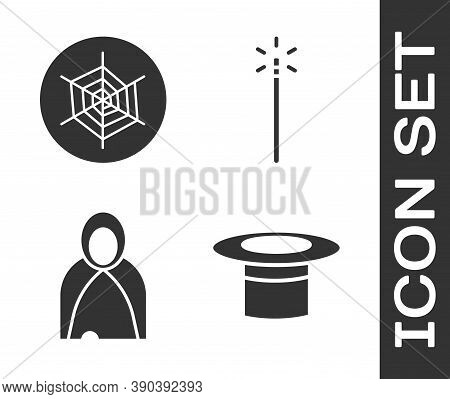 Set Magician Hat, Spider Web, Mantle, Cloak, Cape And Magic Wand Icon. Vector