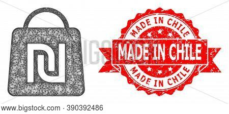 Wire Frame Shekel Shopping Bag Icon, And Made In Chile Scratched Ribbon Seal Imitation. Red Seal Has