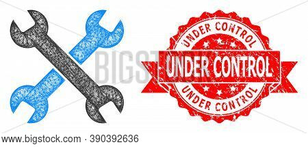 Wire Frame Spanners Icon, And Under Control Rubber Ribbon Stamp. Red Stamp Seal Contains Under Contr