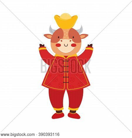 Chinese New Year 2021 Ox. Cute Baby Bull In Traditional Red Chinese Clothes With Gold Coins And Bars