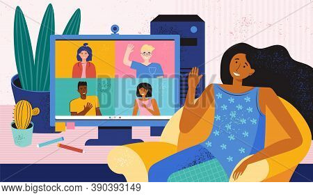 Video Conference For Online Meetings And Work. Teleconference With Friends. Vector Illustration Of A