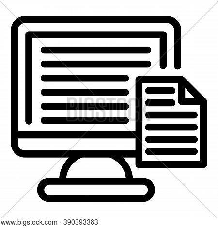 Monitor Scenario Icon. Outline Monitor Scenario Vector Icon For Web Design Isolated On White Backgro