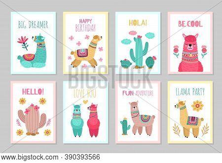 Llama Cards. Beautiful Invitations, Alpaca Flower Colorful Birthday Invites. Babies Kids Posters Wit