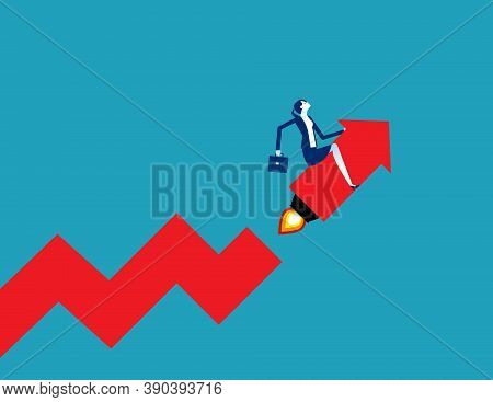 Businessman Startup And Growing Graph. Start Up