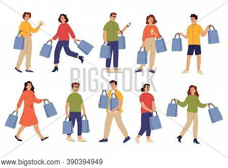 People With Purchases. Shopping Bag, Shop Guy And Female Buying On Crazy Sale. Isolated Shopper Char