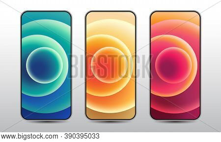 Abstract Background, Graphic Design, Mobile Phone, Colourful Circle, Screenshot,  Smart Phone, Vecto