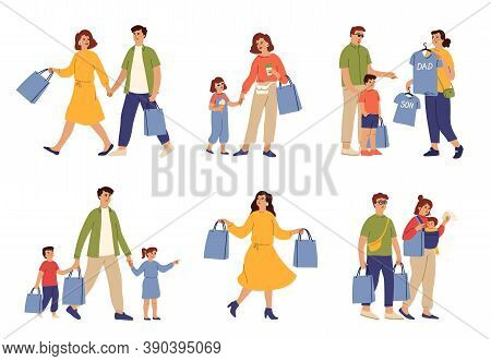 Family Shopping. Woman Food Bag, Couple Running To Shop. Mom Carry Bags, Parents Buying Clothes To K