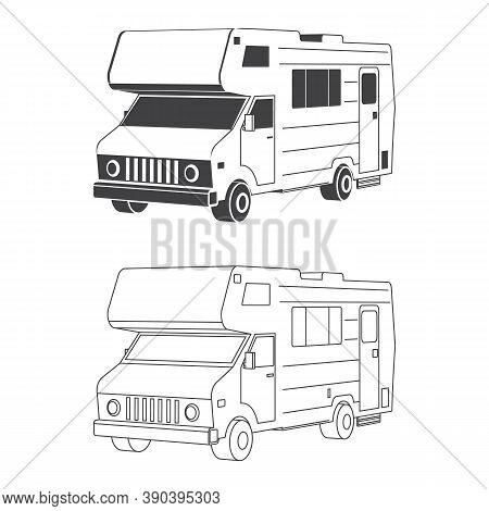 Set Of Isometric Traveler Truck Camper Thin Line And Silhuette. 3d Camping Rv Trailer Family Caravan