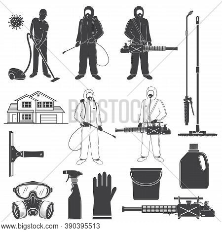 Man In Protective Suit, Gas Mask And Gas Cylinder For Disinfection Coronavirus. Vector Toxic And Che
