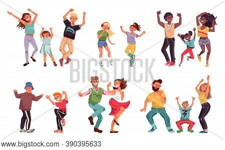Dancing Family. Young People, Fun Kid Parents Disco Dance. Children And Couple Enjoy Good Time, Happ