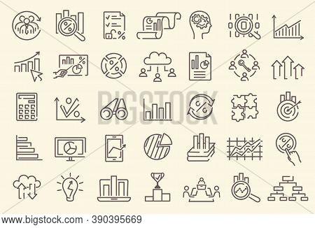 A Set Of Outline Business Analytics, Data Analysis, Statistics Dedicated Minimal Thin Line Vector We
