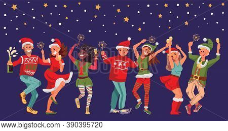 Christmas Festive People. Fun Woman Man, Young Friends Dance On New Year Party. Happy Person With Dr