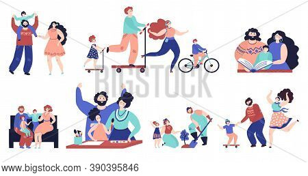 Family Spend Time Together. Parents Walking, Isolated Kids Play Home And Outdoor. Young Mother Fathe