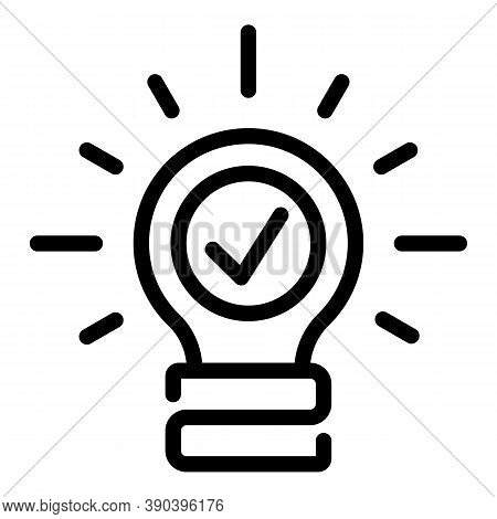 Done Bulb Idea Icon. Outline Done Bulb Idea Vector Icon For Web Design Isolated On White Background
