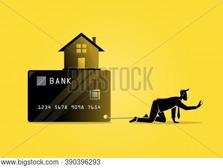 An Illustration Of A Businessman Bearing Debt And House