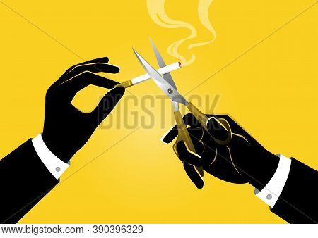 An Illustration Of Businessman Holding Pair Of Scissors In Hand Cuts A Cigarette, No Smoking Concept