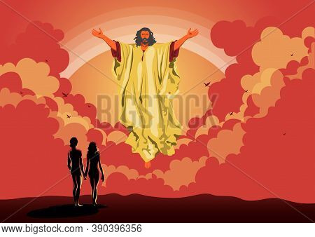 An Illustration Of God Blessed Adam And Eve. Biblical Series