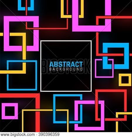 Geometric Shapes Poster. Abstract Modern Business Template, Colorful Squares On Black. Contemporary