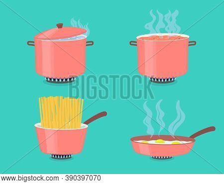 Cooking Pots And Pan On Gas Stove. Boiled Water In Pots, Pasta In Casserole Or Saucepan And Scramble