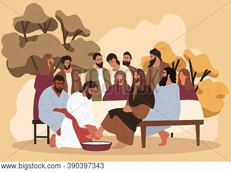 Biblical Scene. Jesus Washes The Feet Of The Apostles. Flat Cartoon Vector Illustration.