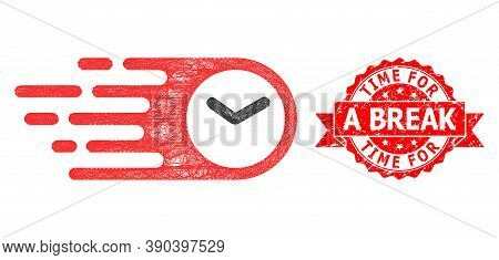Network Speed Time Icon, And Time For A Break Scratched Ribbon Stamp Seal. Red Stamp Includes Time F