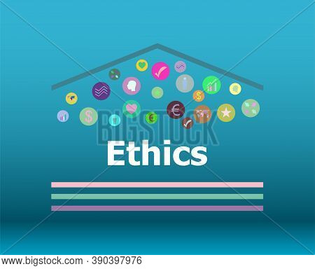 Text Ethics On Digital Background. Social Concept